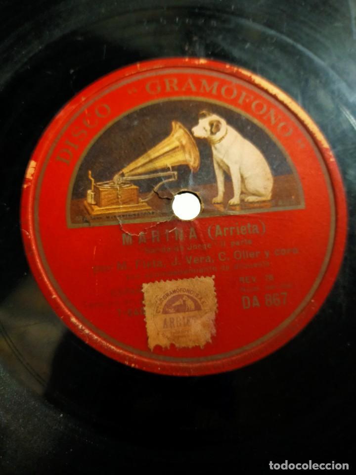 ANTIGUO DISCO PIZARRA PARA GRAMÓFONO MIGUEL FLETA Y CORO - SALIDA DE JORGE MARINA (ARRIETA) (Música - Discos - Pizarra - Flamenco, Canción española y Cuplé)