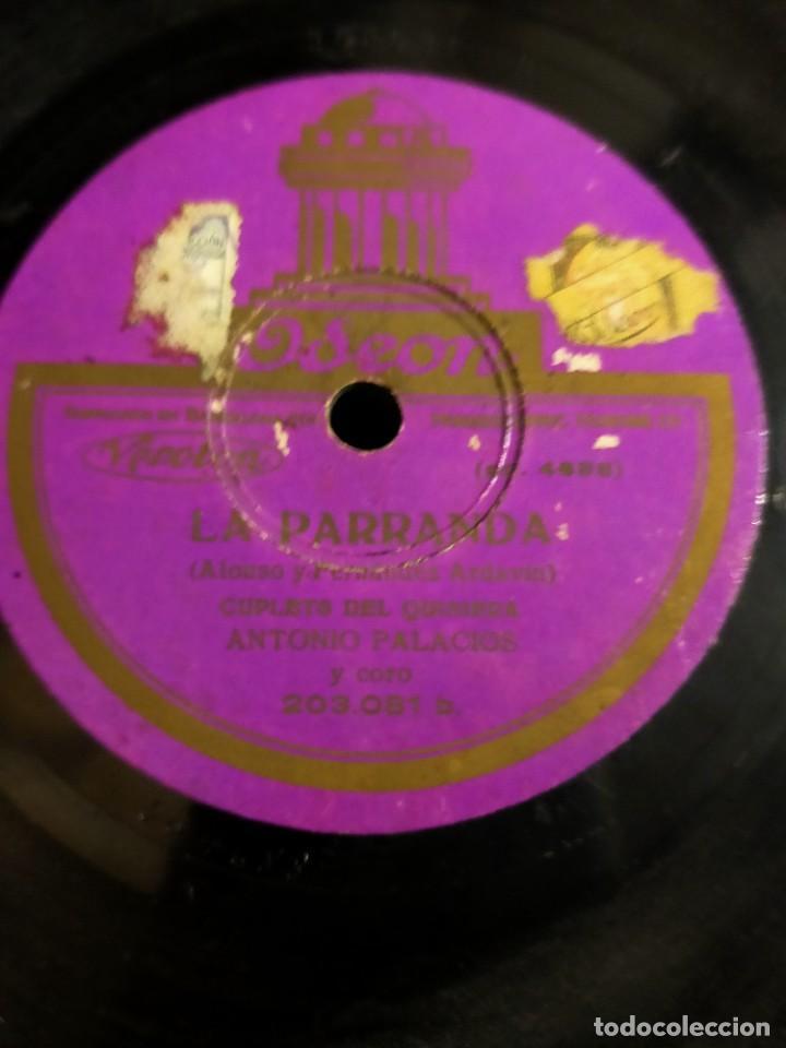 Discos de pizarra: Antiguo disco pizarra La Parranda Alonso y Fernandez Ardavin Cuplets del Quisiera Antonio Palacios - Foto 3 - 222131946