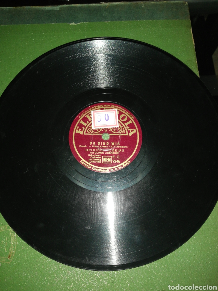DISCO DE PIZARRA 78RPM-GLORIA LILIENBORN-SCHIFF AHOI/SO SIND WIR (Música - Discos - Pizarra - Solistas Melódicos y Bailables)
