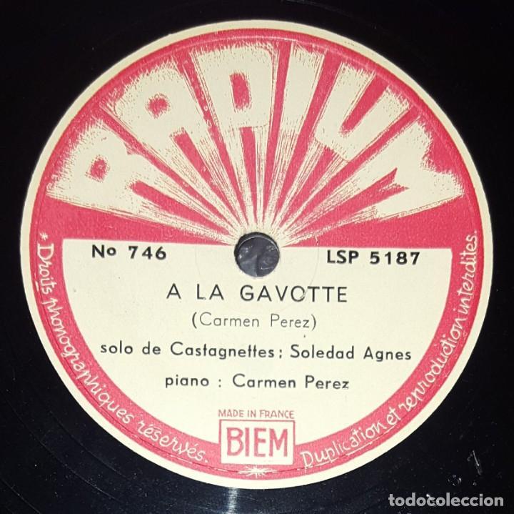 DISCO 78 RPM - RADIUM - SOLEDAD AGNES - CASTAÑUELAS - CARMEN PEREZ - PIANO - A LA GAVOTTE - PIZARRA (Música - Discos - Pizarra - Solistas Melódicos y Bailables)
