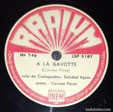 Discos de pizarra: DISCO 78 RPM - RADIUM - SOLEDAD AGNES - CASTAÑUELAS - CARMEN PEREZ - PIANO - A LA GAVOTTE - PIZARRA. Lote 224456741