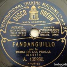 Discos de pizarra: LA RUBIA DE LAS PERLAS - FANDANGUILLOS / CANTO DE LUCENA - ODEON A. 135260, A. 135290. Lote 225086225