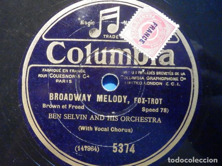 PIZARRA COLUMBIA 5374 - BROADWAY MÉLODY - YOU WERE MEANT FOR ME - THE NITELITES, BEN SELVIN (Música - Discos - Pizarra - Solistas Melódicos y Bailables)