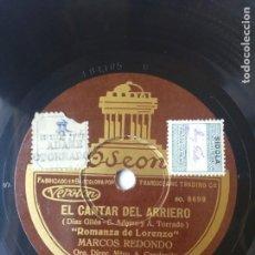 Discos de pizarra: L.P. DE PIZARRA, EL CANTAR DEL ARRIERO. SOY ARRIERO, MARCOS REDONDO Y ROMANZA DE LORENZO.. Lote 225652670