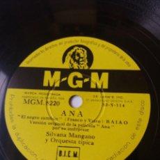 Discos de pizarra: L.P. DE PIZARRA, 78 RPM. CARA A. DÍA DE REYES, CARA B. ANA.SILVANA MANGANO Y ORQUESTA.VER LAS FOTOS.. Lote 225918650
