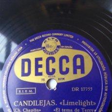Discos de pizarra: L.P. DE PIZARRA, 78 RPM. CARA A. Y B. CANDILEJAS, DE CHARLES CHAPLIN, VER LAS FOTOS.. Lote 225922570