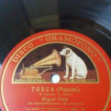 Discos para gramofone: L.P. DE PIZARRA, 78 RPM. CARA A B. TOSCA (PUCCINI) EL TRUST DE LOS TENORIOS. MIGUEL FLETA.LAS FOTOS.. Lote 225931592
