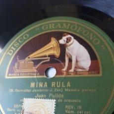 Discos de pizarra: L.P. DE PIZARRA, 78 RPM. CARAS A/B. MINA RULA, UNHA NOITE EIRA DO TRIGO. DE JUAN PULIDO. NO HA FOTO. Lote 226399530