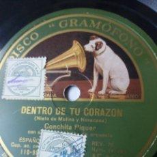 Discos de pizarra: L.P. DE PIZARRA, 78 RPM. DENTRO DE TU CORAZÓN, MI ESPAÑA, CONCHITA PIQUER. NO H.VER FOTOS. Lote 226400875