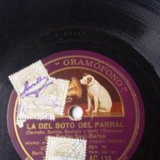 Discos de pizarra: L.P. DE PIZARRA, 78 RPM. LA SOTO DEL PARRAL, ROMANZA. Y CORO DE ENAMORADOS. NO H.VER FOTOS. Lote 226484060