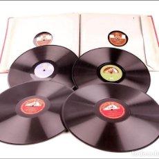 Discos de pizarra: ÁLBUM CON 12 DISCOS DE GRAMÓFONO ANTIGUOS. ÓPERA, MÚSICA CLÁSICA Y POPULAR. ÁLBUM ORIGINAL. Lote 227193120