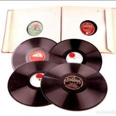 Discos de pizarra: ÁLBUM CON 12 DISCOS DE GRAMÓFONO ANTIGUOS. MÚSICA CLÁSICA Y POPULAR. ÁLBUM ORIGINAL. Lote 227193400