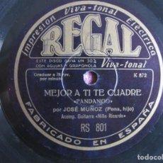 Discos de pizarra: JOSE MUÑOZ (PENA HIJO) - AL MOMENTICO LO HICIERA / MEJOR A TI TE CUADRE (DISCOS REGAL-RS 801). Lote 227735760