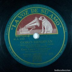 Discos de pizarra: AMATXO / GOIKO MENDIYAN. CORO VASCO ERESOINKA. LA VOZ DE SU AMO. PIZARRA. Lote 230598115