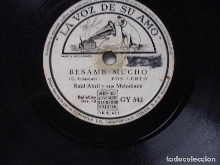 Discos de pizarra: raul abril y sus melodias besame mucho / acercate mas la voz de su amo gy 542 - Foto 2 - 231699470