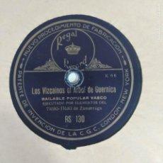 Discos de pizarra: TRIKI-TRIKI DE ZUMARRAGA - LOS VIZCAINOS EL ARBOL DE GUERNICA / TE QUIERO BILBAINA EUSKADI VASCO. Lote 235416880