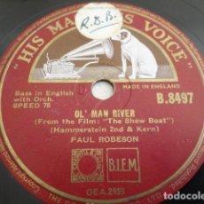 Discos de pizarra: PAUL ROBERSON - OL' MAN RIVER / I STILL SUITS ME - HMV B.8497. Lote 235629480