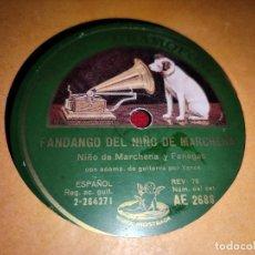 Discos de pizarra: NIÑO MARCHENA Y FANEGAS FANDANGO/GUAJIRAS 10'' 25 CTMS LA VOZ DE SU AMO AE2688. Lote 236008320
