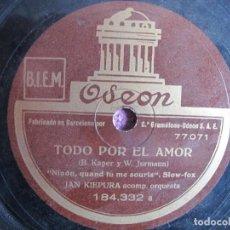 Discos de pizarra: JAN KIEPURA CON ORQUESTA - TODO POR EL AMOR (SPAIN, ODEON SIN FECHA). Lote 236428545