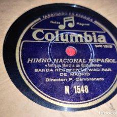 Discos de pizarra: BANDA REGIMIENTO WAD RAS MADRID HIMNO NACIONAL ESPAÑOL/PASO INFANTE 10'' 25CTMS COLUMBIA 1548. Lote 237377575