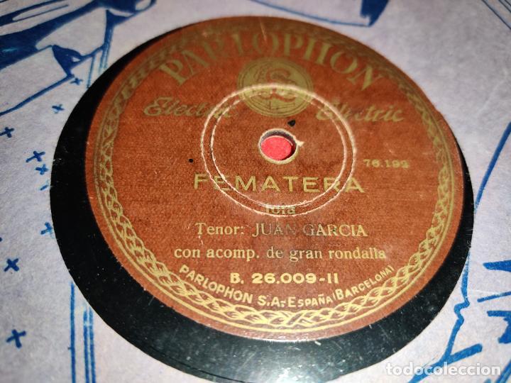 JUAN GARCIA FEMATERA/EL SENTIMIENTO-LA PARRA 10 25CTMS PARLOPHON 26.009 ESPAÑA SPAIN (Música - Discos - Pizarra - Solistas Melódicos y Bailables)