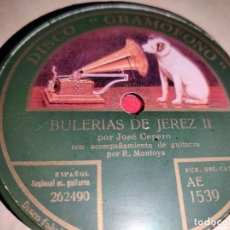 Discos de pizarra: JOSE CEPERO & R.MONTOYA BULERIAS JEREZ II/SEGUIDILLAS DEL CEPERO 10'' 25CTMS VOZ DE SU AMO 1539. Lote 237378450