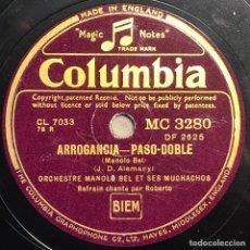 Discos de pizarra: DISCO PIZARRA - COLUMBIA - MANOLO BEL Y SUS MUCHACHOS - ARROGANCIA-ALLA EN EL RANCHO GRAND - 78 RPM. Lote 237475000