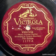 Disques en gomme-laque: DISCO PIZARRA - VICTROLA -TITO SCHIPA -AMAPOLA-VALENCIA- 78 RPM. Lote 237486805