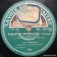 Dischi in gommalacca: DISCO PIZARRA- LA VOIX DE SON MATRE - LUIS MARIANO - UN POCO MAS-VIOLETAS IMPERIALES - 78 RPM. Lote 237687590