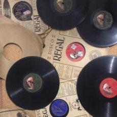 Discos de pizarra: LOTE 20 DISCOS DE PIZARRA VINILO GRABADOS - REGAL GRAMOFONO - CALABRESES MEDIA GRANADINA ES CHOPA. Lote 237694180
