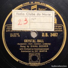 Disques en gomme-laque: DISCO PIZARRA- COLUMBIA-DIANA DECKER - OH MY PAPA -CRYSTAL BALL - 78 RPM.. Lote 237756505