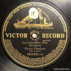 Disques en gomme-laque: DISCO PIZARRA- VICTOR RECORD- CARLOS FRANCISCO - LA GOLONDRINA - LA PALOMA- 78 RPM. Lote 237915795