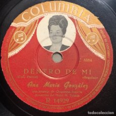 Disques en gomme-laque: DISCO PIZARRA -COLUMBIA - ANA MARIA GONZALEZ - DENTRO DE MI - AGAIN- 78 RPM. Lote 238177300