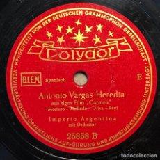 Discos de pizarra: DISCO PIZARRA -POLYDOR- IMPERIO ARGENTINA- ANTONIO VARGAS-LOS PICONEROS- 78 RPM. Lote 238600585