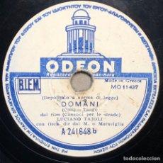 Discos de pizarra: DISCO PIZARRA -ODEON- LUCIANO TAJOLI- DOMANI-CILIEGI ROSA- 78 RPM. Lote 238605540