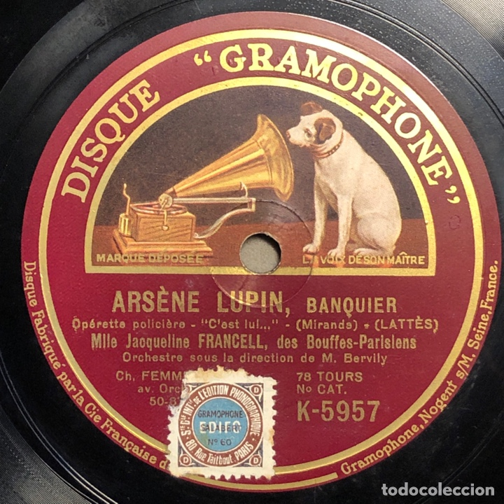 "Discos de pizarra: 78 RPM - Jacqueline Francell - ARSENE LUPIN "" Il en Faut"" /"" C'est lul "" - Opereta Policial - Foto 2 - 239444095"