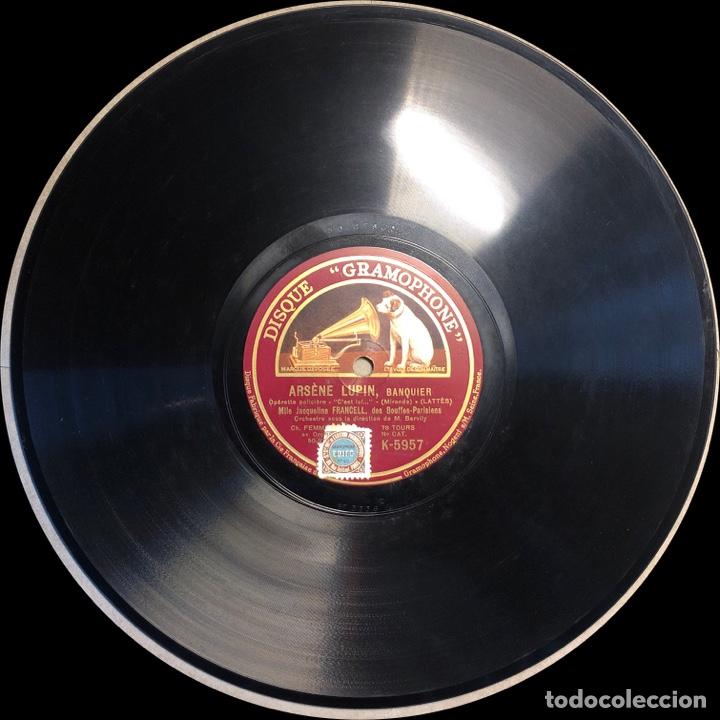 "Discos de pizarra: 78 RPM - Jacqueline Francell - ARSENE LUPIN "" Il en Faut"" /"" C'est lul "" - Opereta Policial - Foto 3 - 239444095"