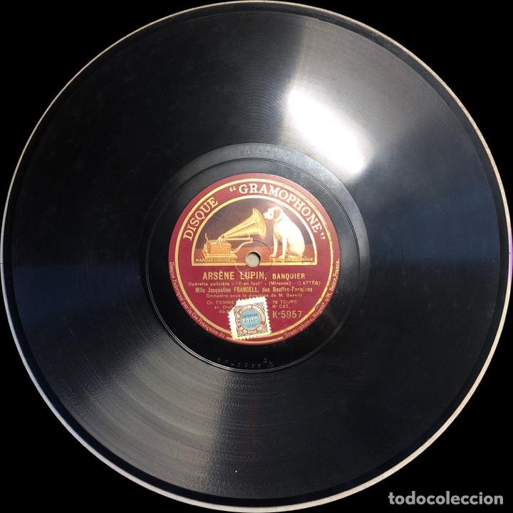 "Discos de pizarra: 78 RPM - Jacqueline Francell - ARSENE LUPIN "" Il en Faut"" /"" C'est lul "" - Opereta Policial - Foto 4 - 239444095"