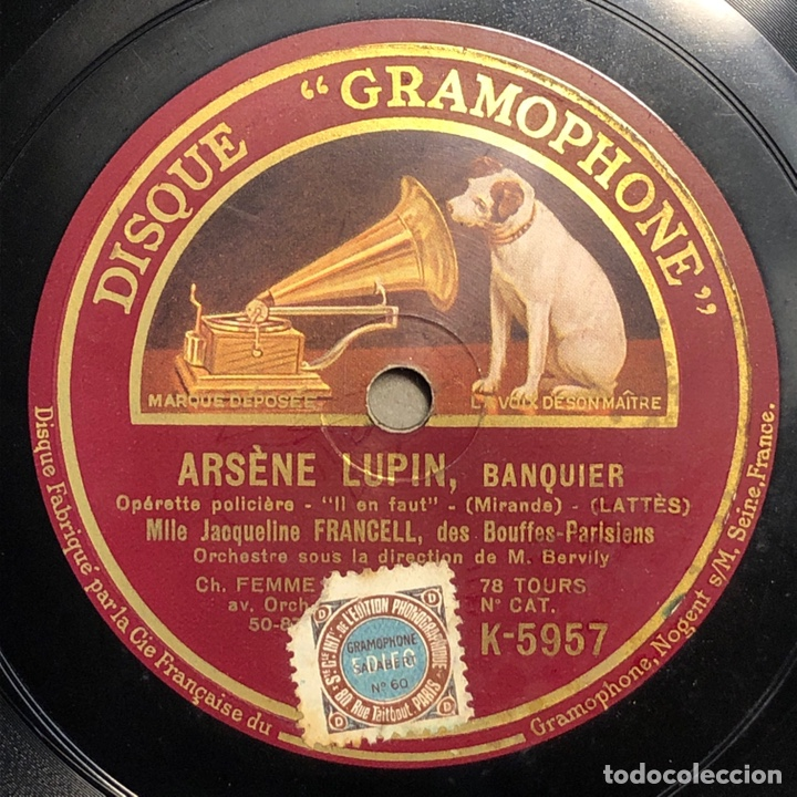"78 RPM - JACQUELINE FRANCELL - ARSENE LUPIN "" IL EN FAUT"" /"" C'EST LUL "" - OPERETA POLICIAL (Música - Discos - Pizarra - Bandas Sonoras y Actores )"