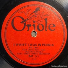 Discos de pizarra: 78 RPM BILL JAMES / BALTIMORE SOCIETY ORCHESTRA - I WISH'T WAS IN PEORIA/ CHARLESTON YOUR BLUES AWAY. Lote 241168735