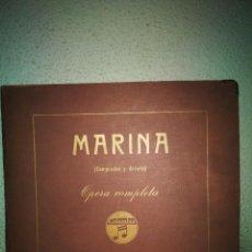 Disques en gomme-laque: MARINA, OPERA COMPLETA, 12 DISCOS DE PIZARRA. Lote 241264800
