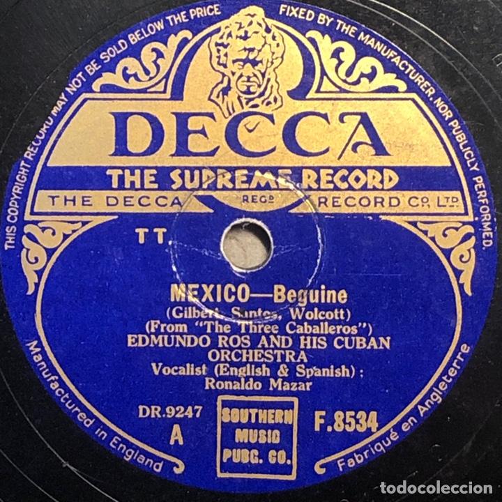 Discos de pizarra: 78 Rpm- Decca - Edmundo Ros - Mexico / Baia - LOS TRES CABALLERO - DISNEY - Foto 2 - 242075875