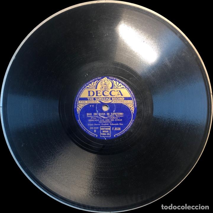 Discos de pizarra: 78 Rpm- Decca - Edmundo Ros - Mexico / Baia - LOS TRES CABALLERO - DISNEY - Foto 3 - 242075875
