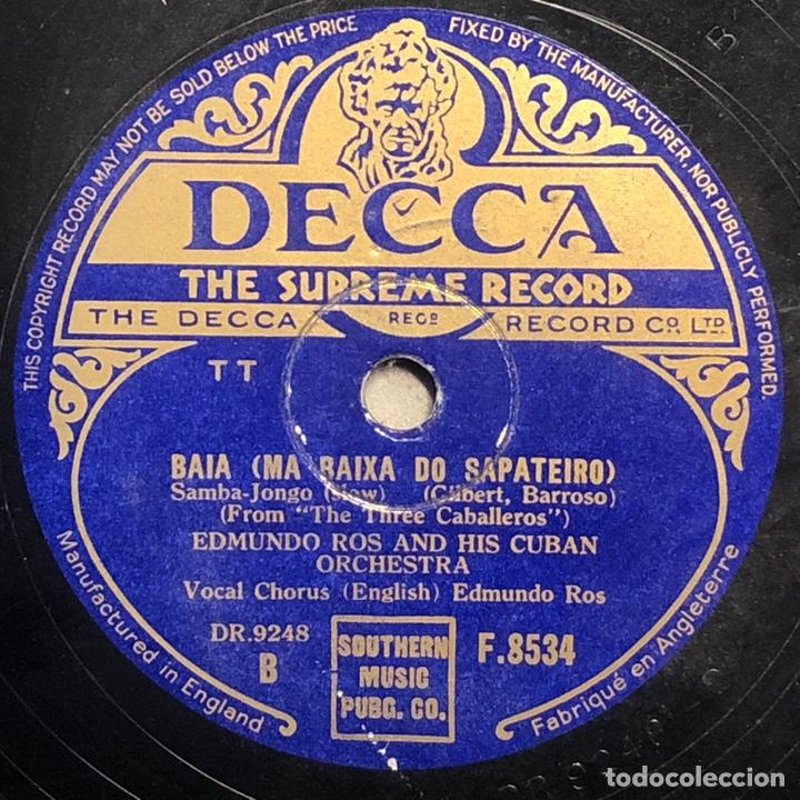 78 RPM- DECCA - EDMUNDO ROS - MEXICO / BAIA - LOS TRES CABALLERO - DISNEY (Música - Discos - Pizarra - Bandas Sonoras y Actores )