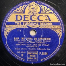Discos de pizarra: 78 RPM- DECCA - EDMUNDO ROS - MEXICO / BAIA - LOS TRES CABALLERO - DISNEY. Lote 242075875