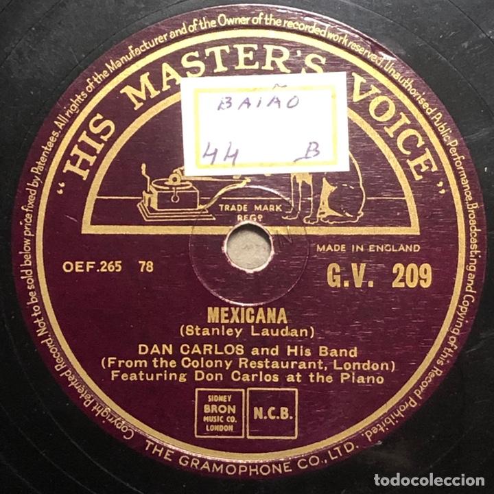 Discos de pizarra: 78 RPM - HIS MASTER VOICE - Don Carlos and His Band - The Bandit / Mexicana - CUBA MUSIC - Foto 2 - 242940760