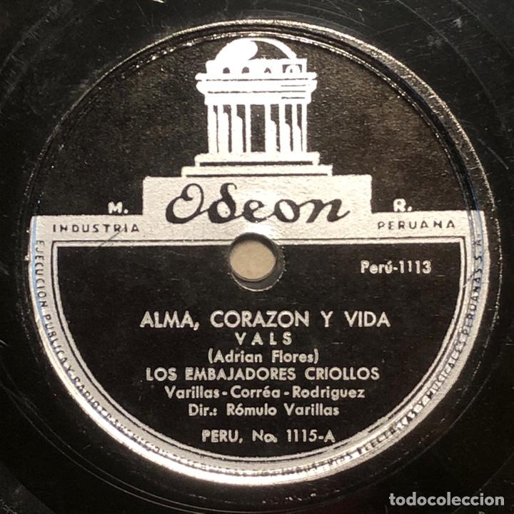 Discos de pizarra: 78 RPM - ODEON - Los Embajadores Criollos Titulos : Ingrato Proceder / Alma, Corazón y Vida - VALS - Foto 2 - 242944675