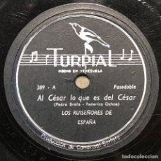 Discos de pizarra: 78 RPM - TURPIAL - LOS RUISEÑORES DE ESPAÑA - AL CESAR LO QUE ES DEL CESAR / YO TE DIJE - PASODOBLE. Lote 242991390