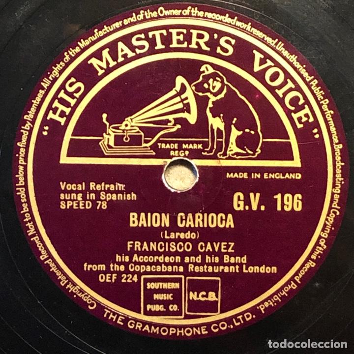 Discos de pizarra: 78 Rpm - His Master Voice - Francisco Cavez - Carnavalito / Baion Carioca - baio - Foto 2 - 243334525