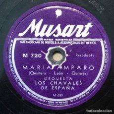 Discos de pizarra: 78 RPM - MUSART - LOS CHAVALES DE ESPAÑA - LA MUSA CHISPERA / MARÍA AMPARO - PASODOBLE. Lote 243343620